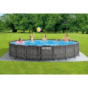 26744 - INTEX GREYWOOD PRISM FRAME POOL (5.49 m X 1.22 m) ROUND with Filter Pump