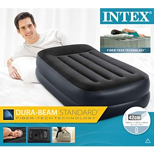 64122 - TWIN RAISED FIBER TECH AIRBED 100Χ190X42CM WITH BUILT-IN ELECTRIC PUMP