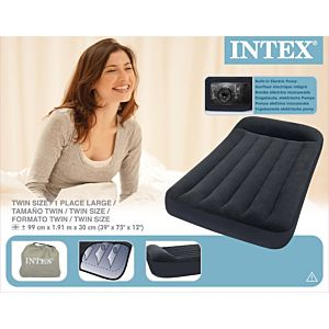 66779 - INTEX TWIN PILLOW REST CLASSIC AIRBED KIT 190 x 100 x 30 CM WITH BUILT-IN ELECTRIC PUMP